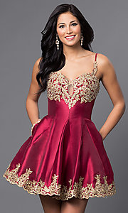 Image of short homecoming party dress with lace applique. Style: DJ-A4523 Front Image