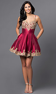 Image of short homecoming party dress with lace applique. Style: DJ-A4523 Detail Image 1