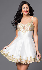 Image of short homecoming party dress with lace applique. Style: DJ-A4523 Detail Image 2