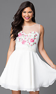 Embroidered Illusion Sweetheart Short Dress