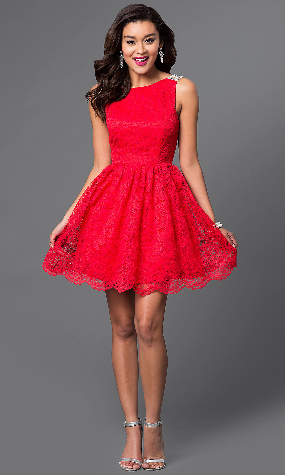 Short Red Lace Homecoming Party Dress - PromGirl