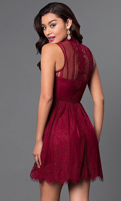 2ff4919fb74 Image of high-neck short wine red lace homecoming dress. Style  CT-