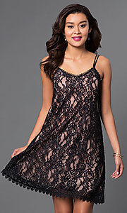 Image of short scoop-neck lace shift party dress. Style: CT-3098mv5b Front Image
