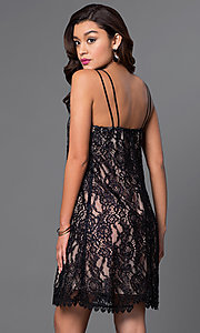 Image of short scoop-neck lace shift party dress. Style: CT-3098mv5b Back Image