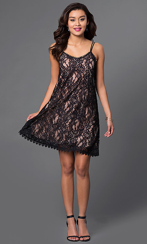 Image of short scoop-neck lace shift party dress. Style: CT-3098mv5b Detail Image 1