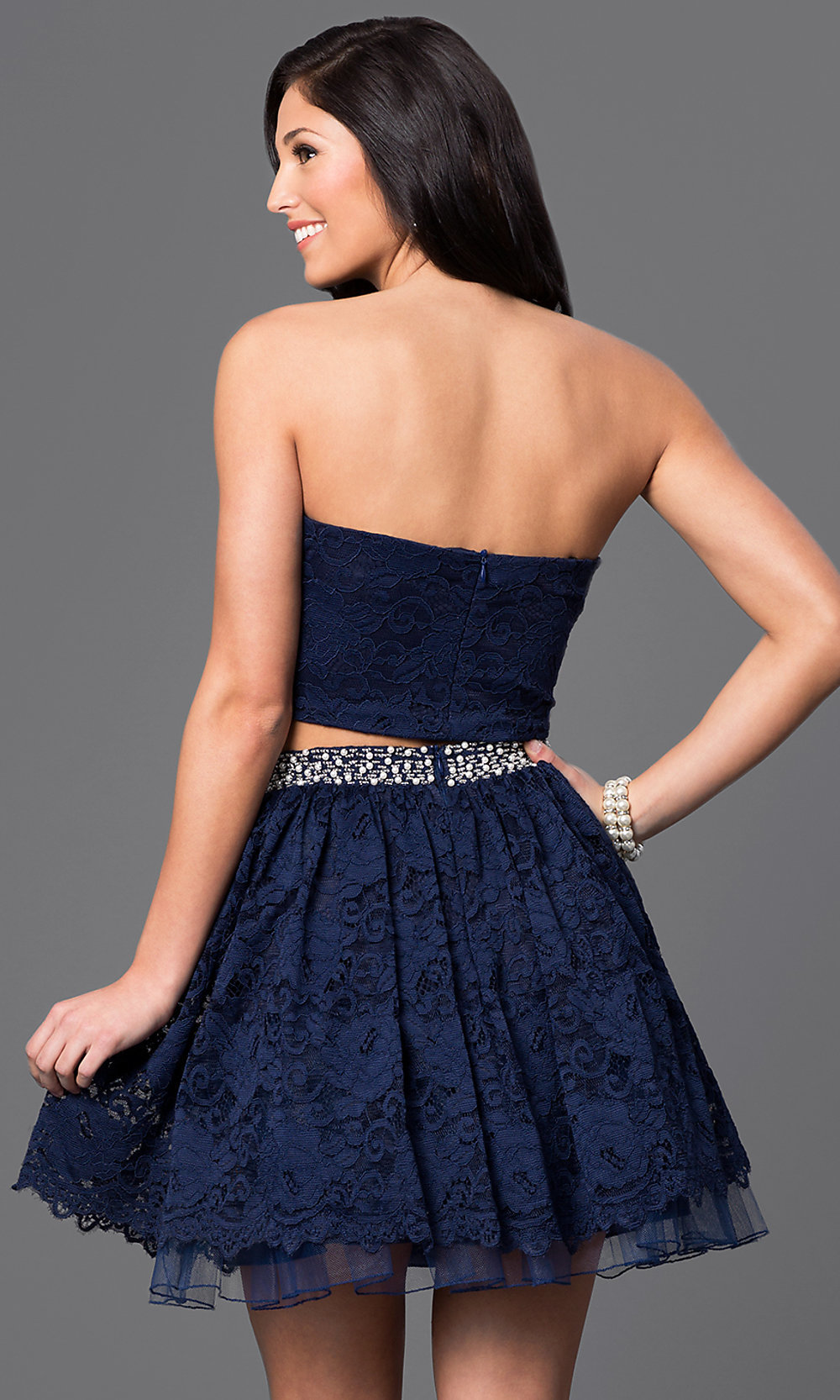 Short Navy Blue Two Piece Lace Dress Promgirl