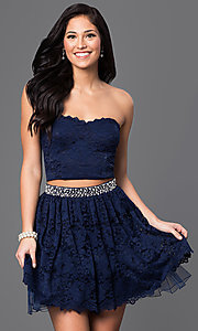 Image of navy blue two-piece lace homecoming dress. Style: CT-3701mg2b Front Image