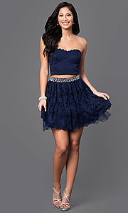 Image of navy blue two-piece lace homecoming dress. Style: CT-3701mg2b Detail Image 1