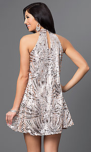 Image of short homecoming high-neck sequin shift dress. Style: CT-8106-XH4K Back Image