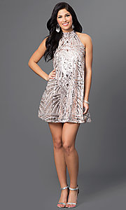 Image of short homecoming high-neck sequin shift dress. Style: CT-8106-XH4K Detail Image 1