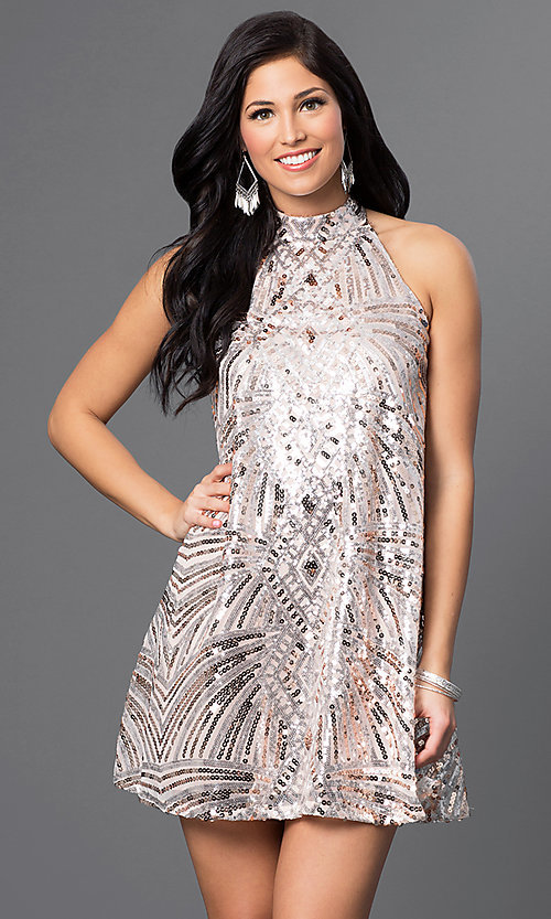 Image of short homecoming high-neck sequin shift dress. Style: CT-8106-XH4K Front Image