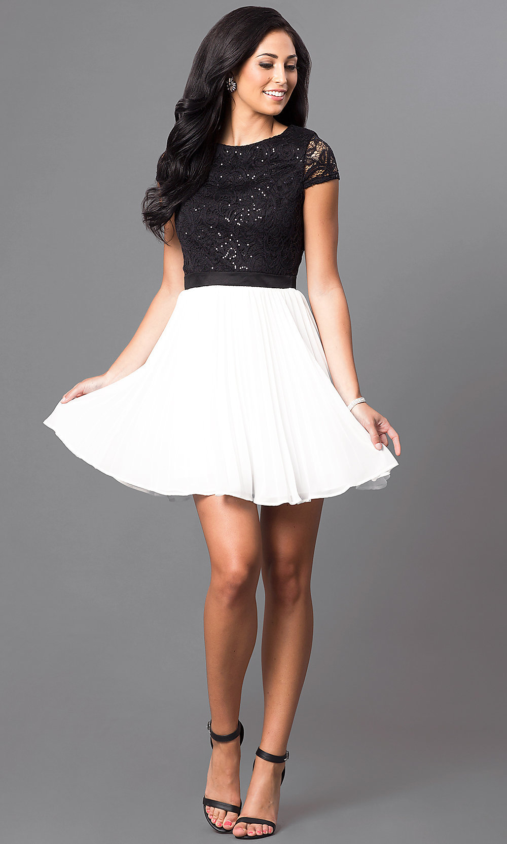short black and white homecoming dress promgirl