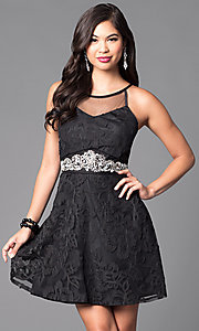 Image of little black homecoming dress with scoop neckline. Style: DMO-J312766 Front Image