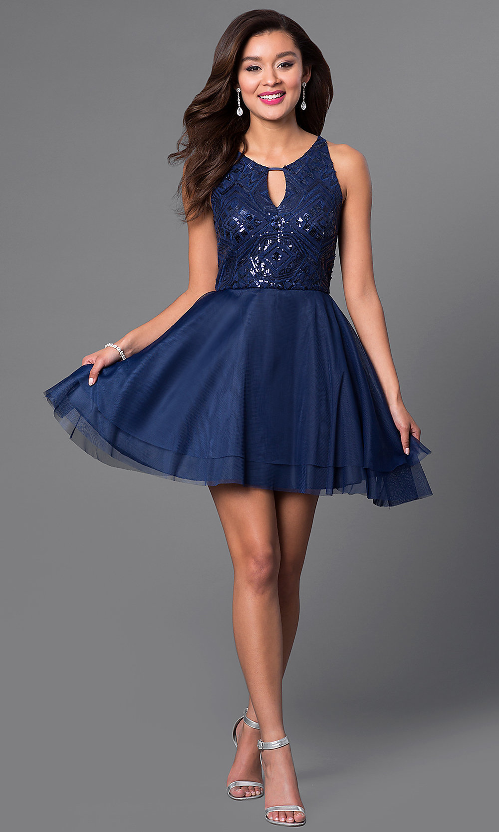 Navy Blue Short A-line Homecoming Dresses-Promgirl