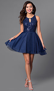 Image of short sequin-bodice navy blue homecoming dress. Style: DMO-J313326 Detail Image 1
