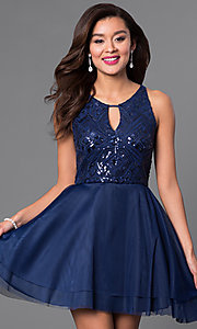 Image of short sequin-bodice navy blue homecoming dress. Style: DMO-J313326 Front Image