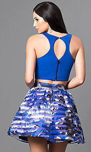Image of royal blue two-piece short print homecoming dress. Style: DMO-J314346 Back Image