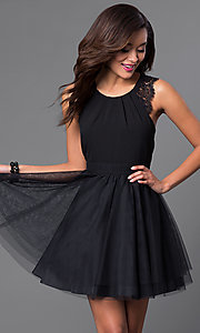 Image of short black sleeveless homecoming dress.  Style: DMO-J314106 Back Image
