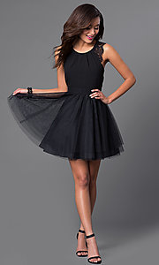 Image of short black sleeveless homecoming dress.  Style: DMO-J314106 Detail Image 1