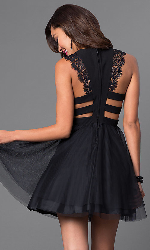 Image of short black sleeveless homecoming dress.  Style: DMO-J314106 Front Image