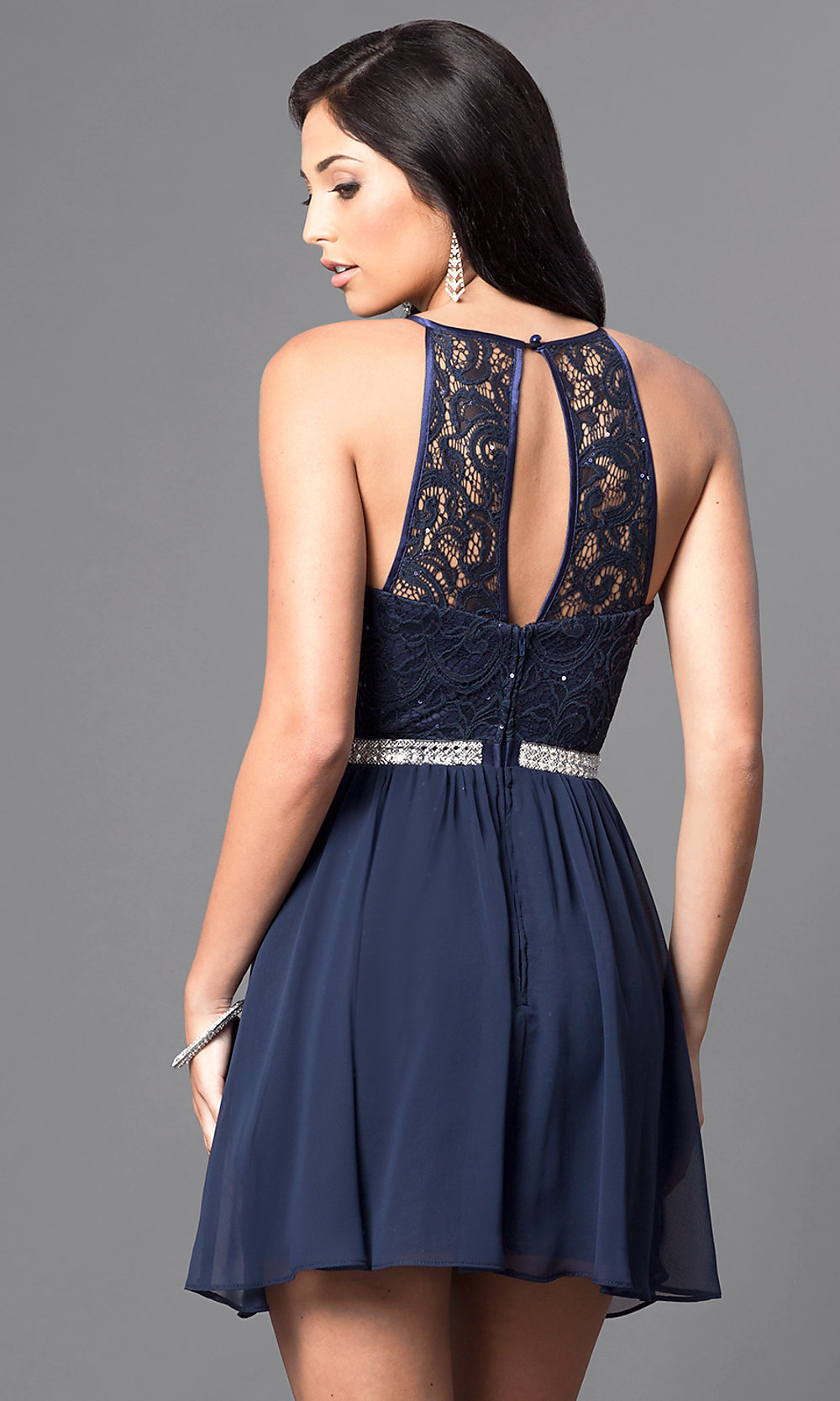 Short Navy Blue Lace Homecoming Dress - PromGirl