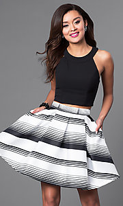 Image of two-piece black and white short homecoming dress. Style: DMO-J314376 Front Image