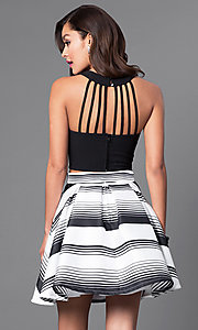 Image of two-piece black and white short homecoming dress. Style: DMO-J314376 Back Image