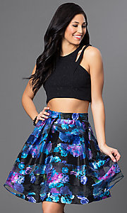 Floral-Print Two-Piece Short Homecoming Dress