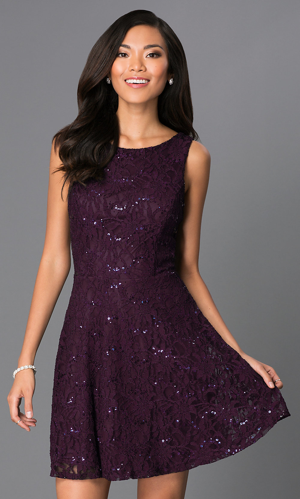 Sparkling Purple Lace Party Dress - PromGirl
