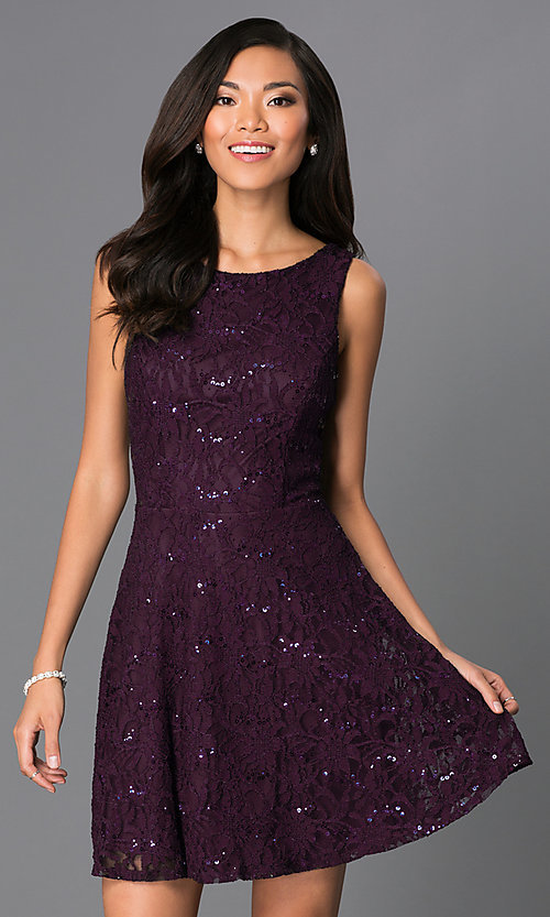 Image of short sleeveless sequin-lace purple party dress Style: SS-D51064H141 Front Image