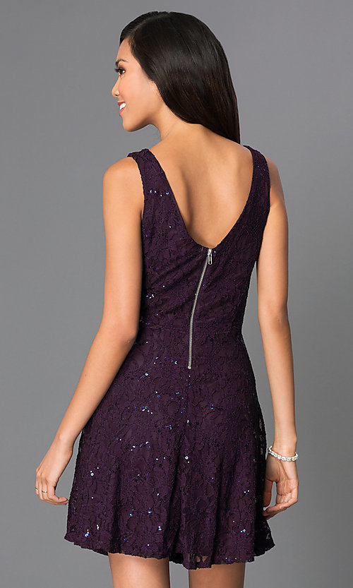 Image of short sleeveless sequin-lace purple party dress Style: SS-D51064H141 Back Image