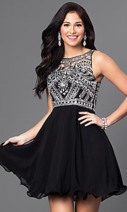 Image of jewel-embellished sheer-bodice short dress.  Style: DQ-9523 Front Image