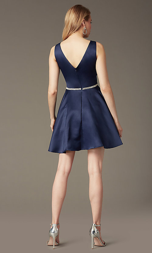 Image of short circle skirt v-neck homecoming party dress. Style: DQ-9504 Back Image