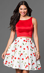 Image of two-piece short print homecoming party dress. Style: DQ-9516 Front Image