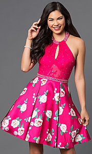 Short Print Skirt Lace Halter Homecoming Dress