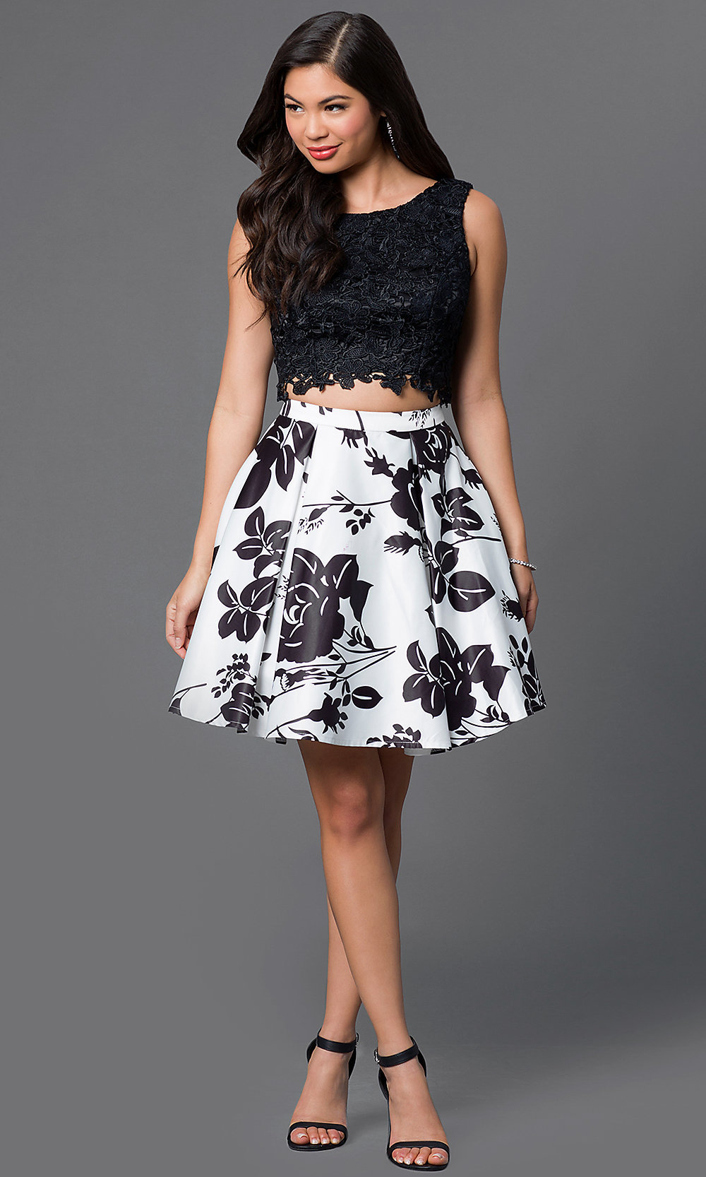 Black-White Two-Piece Homecoming Dress - PromGirl