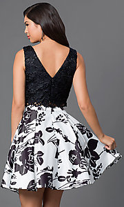 Image of lace-top two-piece short print homecoming dress. Style: DQ-9515 Back Image