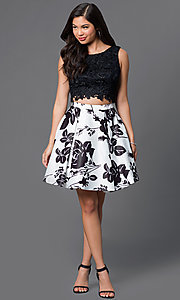 Image of lace-top two-piece short print homecoming dress. Style: DQ-9515 Detail Image 3