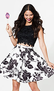 Image of lace-top two-piece short print homecoming dress. Style: DQ-9515 Front Image