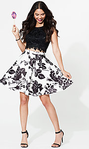 Image of lace-top two-piece short print homecoming dress. Style: DQ-9515 Detail Image 1