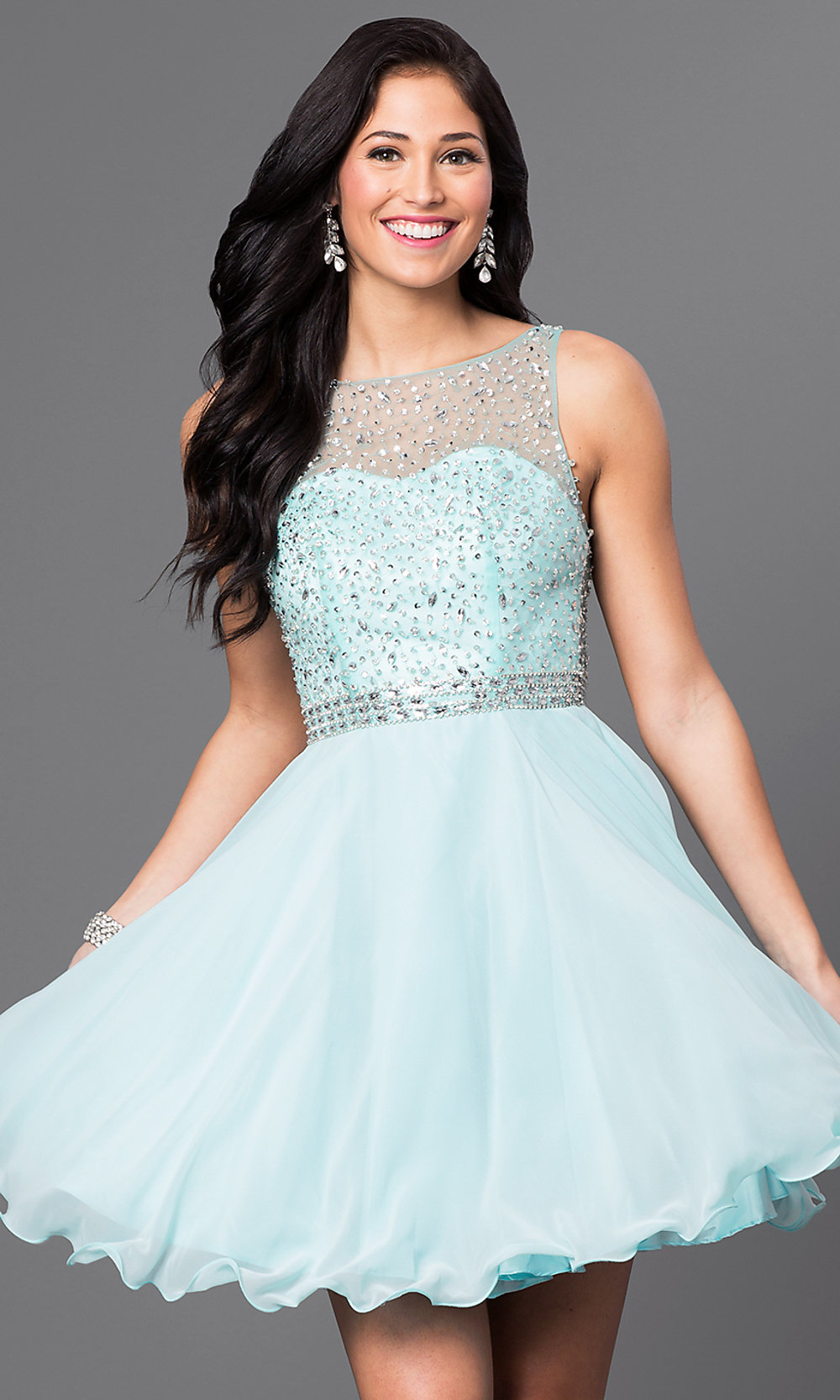 Short A Line Sleeveless Homecoming Dress Promgirl