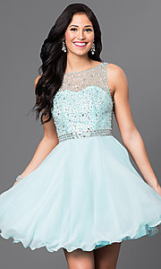 Image of short homecoming dress with embellished-illusion back. Style: DQ-9459 Front Image