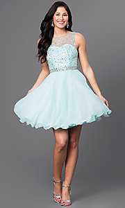 Image of short homecoming dress with embellished-illusion back. Style: DQ-9459 Detail Image 1