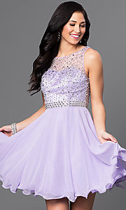 Image of short homecoming dress with embellished-illusion back. Style: DQ-9459 Detail Image 3