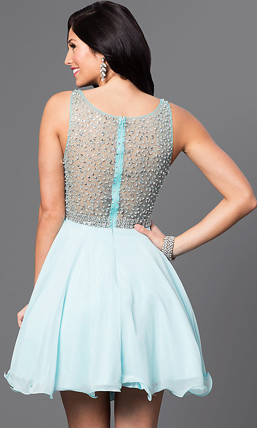 Image of short homecoming dress with embellished-illusion back. Style: DQ-9459 Back Image