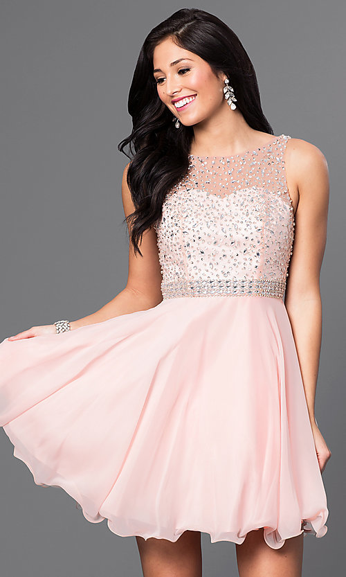 Image of short homecoming dress with embellished-illusion back. Style: DQ-9459 Detail Image 2