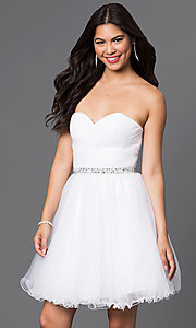 Image of short ruched sweetheart corset-back party dress. Style: DQ-9309 Front Image