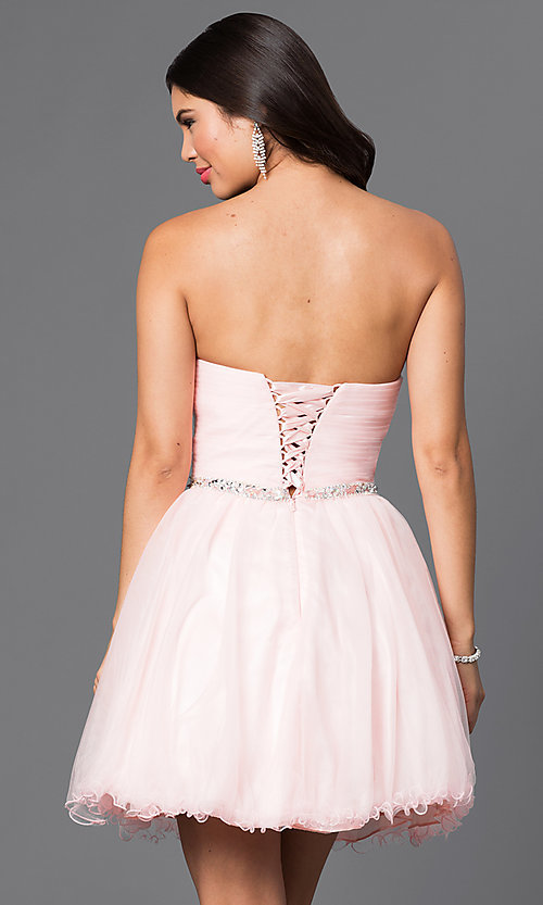 Image of short ruched sweetheart corset-back party dress. Style: DQ-9309 Back Image