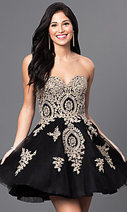 Image of short strapless babydoll homecoming dress.  Style: DQ-9484 Detail Image 1