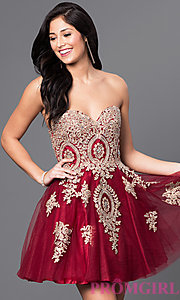 Short Strapless Babydoll Homecoming Dress